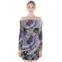 Water Ripple Design Background Wallpaper Of Water Ripples Applied To A Kaleidoscope Pattern Long Sleeve Off Shoulder Dress