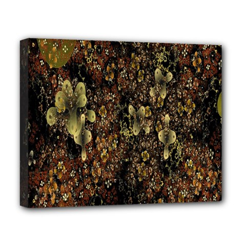 Wallpaper With Fractal Small Flowers Deluxe Canvas 20  X 16