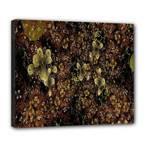 Wallpaper With Fractal Small Flowers Deluxe Canvas 24  X 20