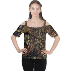 Wallpaper With Fractal Small Flowers Cutout Shoulder Tee