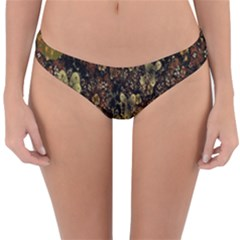Wallpaper With Fractal Small Flowers Reversible Hipster Bikini Bottoms
