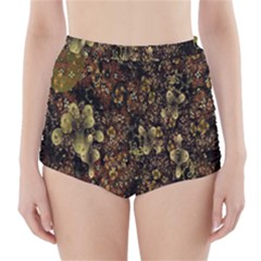 Wallpaper With Fractal Small Flowers High-Waisted Bikini Bottoms
