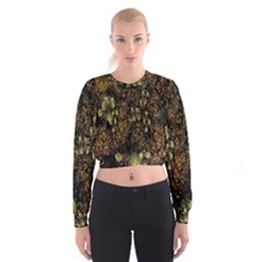 Wallpaper With Fractal Small Flowers Cropped Sweatshirt