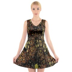 Wallpaper With Fractal Small Flowers V Neck Sleeveless Skater Dress