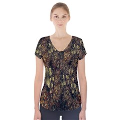 Wallpaper With Fractal Small Flowers Short Sleeve Front Detail Top