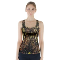 Wallpaper With Fractal Small Flowers Racer Back Sports Top