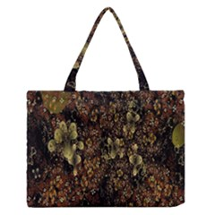 Wallpaper With Fractal Small Flowers Medium Zipper Tote Bag
