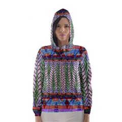 Nature Pattern Background Wallpaper Of Leaves And Flowers Abstract Style Hooded Wind Breaker (Women)