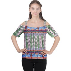 Nature Pattern Background Wallpaper Of Leaves And Flowers Abstract Style Cutout Shoulder Tee