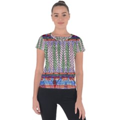 Nature Pattern Background Wallpaper Of Leaves And Flowers Abstract Style Short Sleeve Sports Top