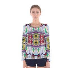 Kaleidoscope Background  Wallpaper Women s Long Sleeve Tee