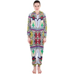 Kaleidoscope Background  Wallpaper Hooded Jumpsuit (Ladies)