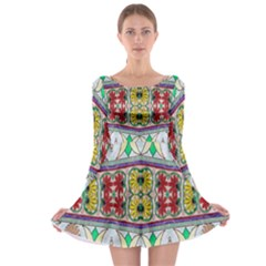 Kaleidoscope Background  Wallpaper Long Sleeve Skater Dress