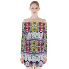 Kaleidoscope Background  Wallpaper Long Sleeve Off Shoulder Dress