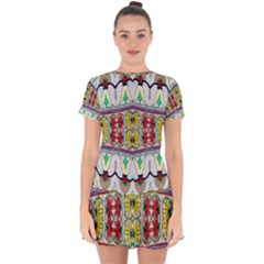 Kaleidoscope Background  Wallpaper Drop Hem Mini Chiffon Dress