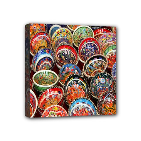 Colorful Oriental Bowls On Local Market In Turkey Mini Canvas 4  X 4