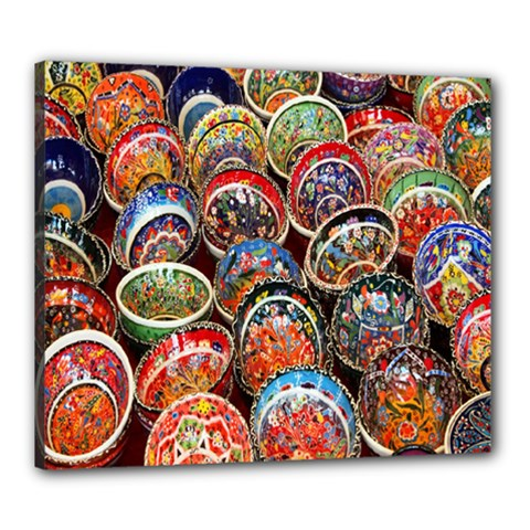 Colorful Oriental Bowls On Local Market In Turkey Canvas 24  x 20