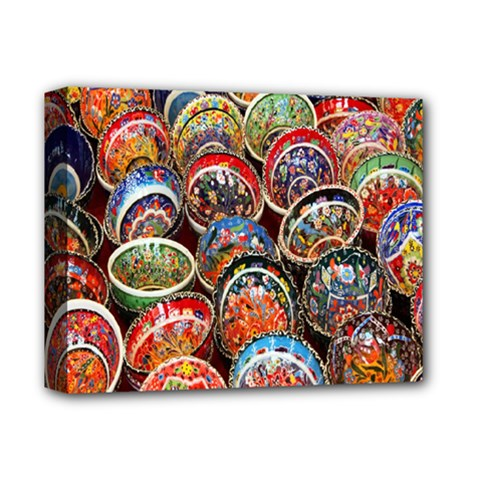 Colorful Oriental Bowls On Local Market In Turkey Deluxe Canvas 14  x 11