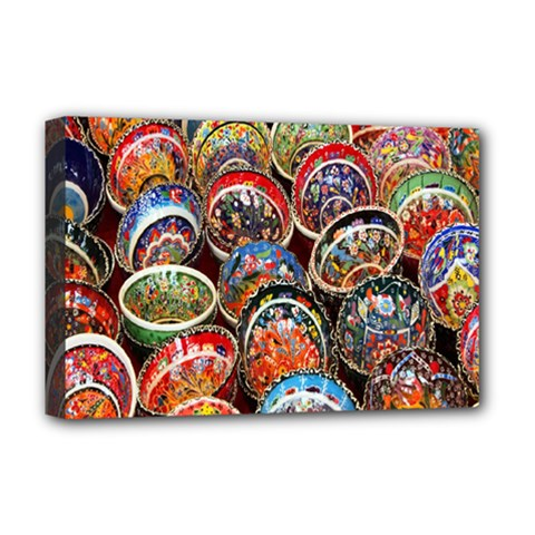 Colorful Oriental Bowls On Local Market In Turkey Deluxe Canvas 18  X 12