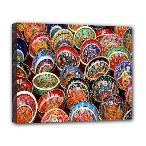 Colorful Oriental Bowls On Local Market In Turkey Deluxe Canvas 20  x 16