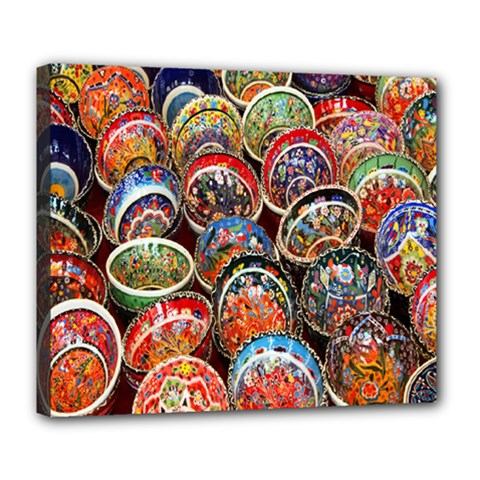Colorful Oriental Bowls On Local Market In Turkey Deluxe Canvas 24  x 20
