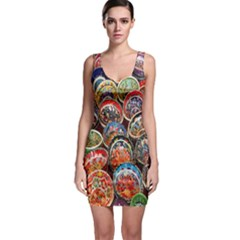 Colorful Oriental Bowls On Local Market In Turkey Sleeveless Bodycon Dress