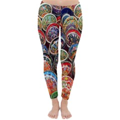 Colorful Oriental Bowls On Local Market In Turkey Classic Winter Leggings