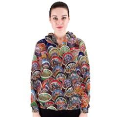 Colorful Oriental Bowls On Local Market In Turkey Women s Zipper Hoodie