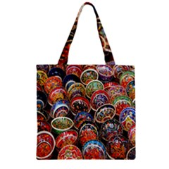 Colorful Oriental Bowls On Local Market In Turkey Zipper Grocery Tote Bag