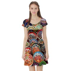 Colorful Oriental Bowls On Local Market In Turkey Short Sleeve Skater Dress