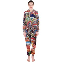 Colorful Oriental Bowls On Local Market In Turkey Hooded Jumpsuit (ladies)