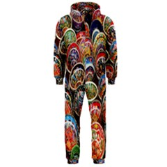 Colorful Oriental Bowls On Local Market In Turkey Hooded Jumpsuit (men)