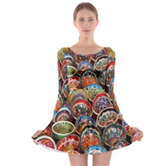 Colorful Oriental Bowls On Local Market In Turkey Long Sleeve Skater Dress