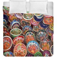 Colorful Oriental Bowls On Local Market In Turkey Duvet Cover Double Side (king Size)