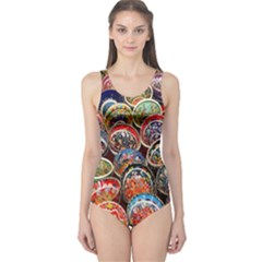Colorful Oriental Bowls On Local Market In Turkey One Piece Swimsuit