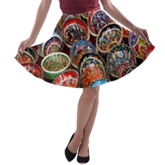Colorful Oriental Bowls On Local Market In Turkey A Line Skater Skirt