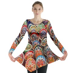 Colorful Oriental Bowls On Local Market In Turkey Long Sleeve Tunic