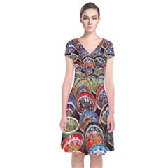 Colorful Oriental Bowls On Local Market In Turkey Short Sleeve Front Wrap Dress