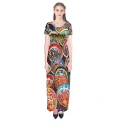 Colorful Oriental Bowls On Local Market In Turkey Short Sleeve Maxi Dress