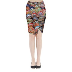Colorful Oriental Bowls On Local Market In Turkey Midi Wrap Pencil Skirt