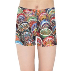 Colorful Oriental Bowls On Local Market In Turkey Kids Sports Shorts