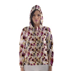 Random Leaves Pattern Background Hooded Wind Breaker (women)