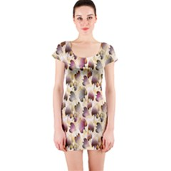 Random Leaves Pattern Background Short Sleeve Bodycon Dress