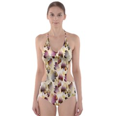 Random Leaves Pattern Background Cut Out One Piece Swimsuit