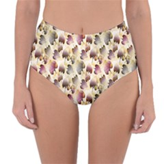 Random Leaves Pattern Background Reversible High Waist Bikini Bottoms