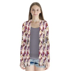 Random Leaves Pattern Background Drape Collar Cardigan