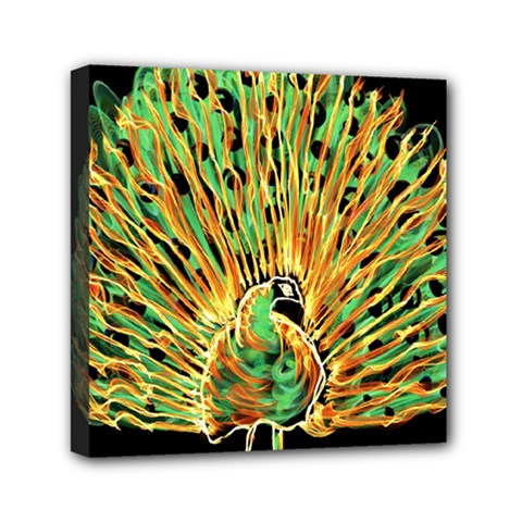 Unusual Peacock Drawn With Flame Lines Mini Canvas 6  X 6