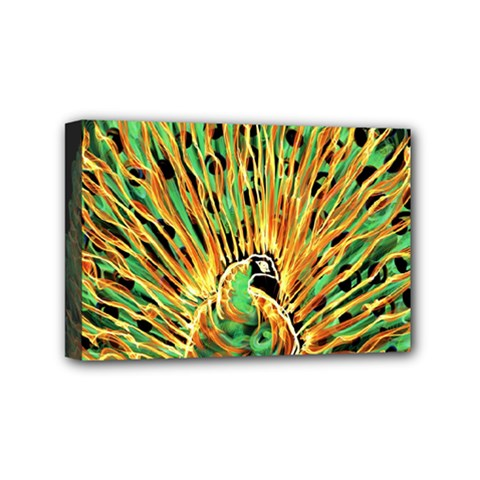 Unusual Peacock Drawn With Flame Lines Mini Canvas 6  x 4