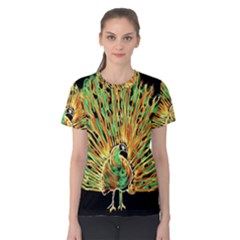 Unusual Peacock Drawn With Flame Lines Women s Cotton Tee