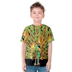 Unusual Peacock Drawn With Flame Lines Kids  Cotton Tee